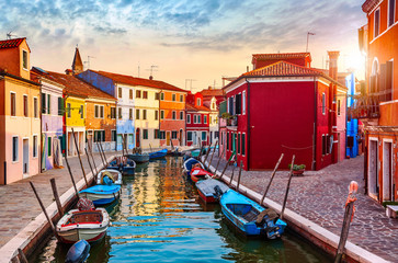 Burano island in Venice Italy picturesque sunset over canal Wall mural