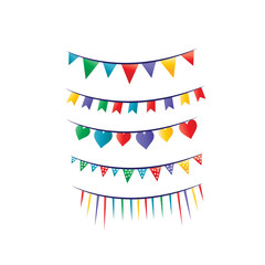 colorful party flags illustration, heart, lines, triangle, icon design, isolated on white background.