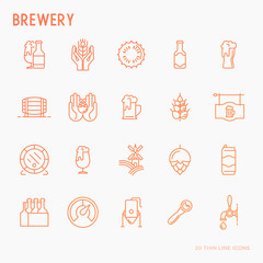 Beer thin line icons related to brewery and Beer October Festival. Modern vector illustration.