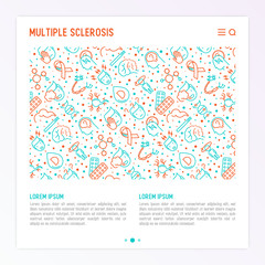 Multiple sclerosis concept with thin line icons of symptoms and treatments: disorientation, heredity, neuron myelin sheaths, vitamin D. Vector illustration for banner, web page, print media.