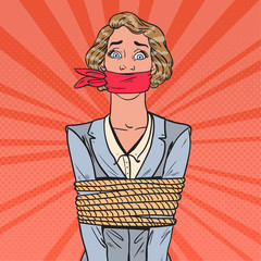 Pop Art Scared Businesswoman Tied Up with Rope. Business Problems. Vector illustration