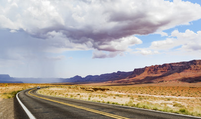Summer rain on the road, Marble Canyon Hwy 89 between Bitter Springs and Page, panoramic view - Arizona, AZ, USA