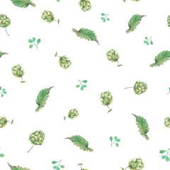 Watercolor natural seamless pattern of hops