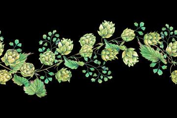 Watercolor natural seamless border of hops