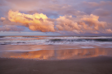 Ocean waves and clouds near sunset, Kure Beach, North Carolina, USA Wall mural