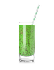 Glass of green smoothie with chia seeds, isolated on white