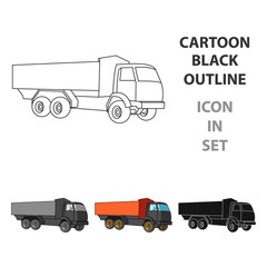 Pickup rural truck. Tow auto. Truck with orange body for the transport of agricultural crops.Agricultural Machinery single icon in cartoon style vector symbol stock illustration.