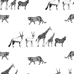 Seamless pattern of hand drawn sketch style oryx, gazelle, giraffe, zebra and leopard. Vector illustration isolated on white background.