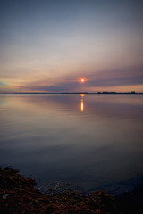 Beautiful sunset on lake erie beach in southwestern Ontario, Canada
