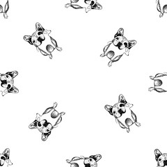 Seamless pattern of hand drawn sketch style bulldogs. Vector illustration isolated on white background.