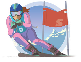 skier female, racing downhill with ski flag and mountains in the background