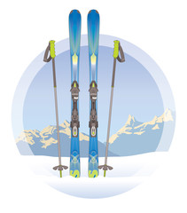 pair of skis and ski poles on snow with mountains in the background