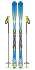 pair of skis and ski-poles on white background