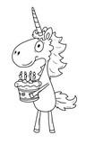 Ausmalbild Einhorn   Geburtstag   koloriert