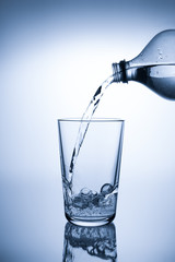 Pouring mineral water into a glass
