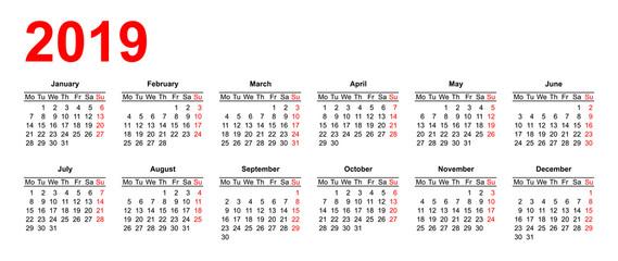 European calendar grid 2019 in vector