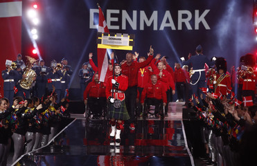 Members of the delegation from Denmark enter the venue during the opening ceremony for the Invictus Games in Toronto