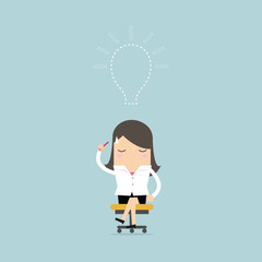 Businesswoman lost her idea with empty light bulb. vector