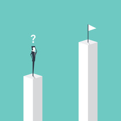 Businessman standing on pillar and looking to target on higher pillar, business vision concept cartoon vector illustration