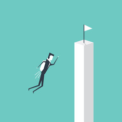 Businessman flying to white flag on cliff, business vision concept cartoon vector illustration
