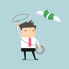 Businessman chasing flying money by rope, Financial concept. vector