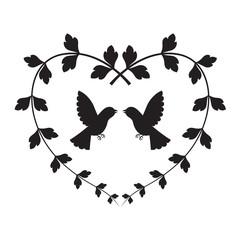graphic bird in heart, vector