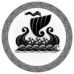 Viking Drakkar. Drakkar ship sailing on the stormy sea