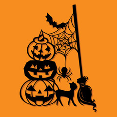 Paper Cut Silhouette Halloween Pumpkin Stack Broomstick Decoration