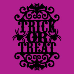 Paper Cut Silhouette Halloween Trick Or Treat Vintage Ornate Swirl
