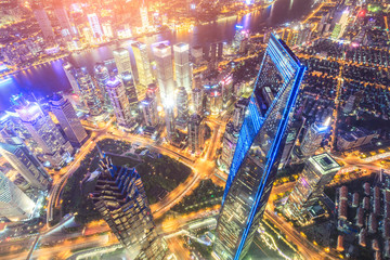Aerial view of Lujiazui financial district at night in Shanghai,China