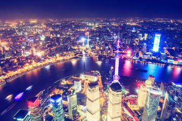 Keuken foto achterwand Shanghai Aerial View of Lujiazui Financial District at night in Shanghai,China