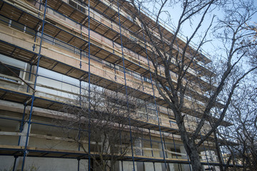 Scaffolding on residence building