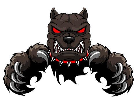 Angry dog mascot cartoon. Vector illustration