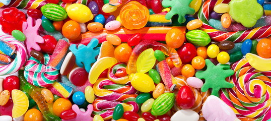 Printed kitchen splashbacks Candy Various colorful candies, jellies, lollipops and marmalade