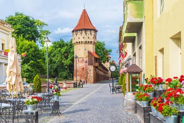 Wall Mural - Medieval defense wall and The Carpenters' Tower in Sibiu, Transylvania, Romania.