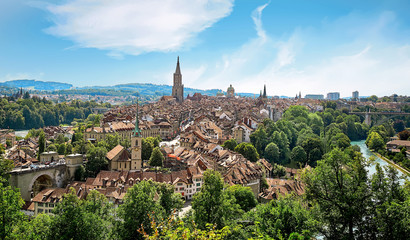 Panoramic view of Berne, Switzerland Wall mural