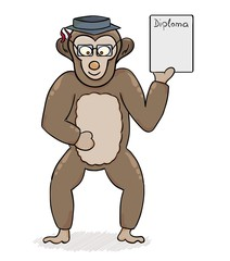 clever monkey with diploma