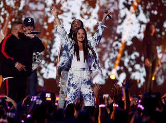 Demi Lovato performs during the iHeartRadio Music Festival at T-Mobile Arena in Las Vegas