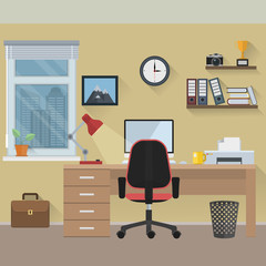 Flat design workspace. File is in eps10 format.