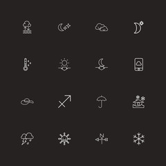 Set Of 16 Editable Weather Outline Icons. Includes Symbols Such As Headwear, Night Sky, Phone And More. Can Be Used For Web, Mobile, UI And Infographic Design.