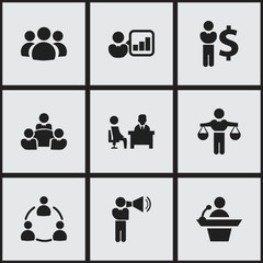 Set Of 9 Editable Business Icons. Includes Symbols Such As Finance Director, Member, Teamwork And More. Can Be Used For Web, Mobile, UI And Infographic Design.