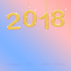 2018 Happy new year white color hanging at green gradient to blue studio room,Hoilday greeting card,Mock up for display or montage of product (3d rendering)