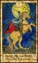 Headless horseman. Minor Arcana Tarot Card. Page of Swords. Fantasy graphic illustration