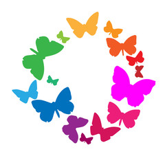 varicoloured abstract butterflies flying on circle on white background