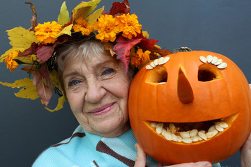 old woman with a pumpkin