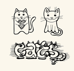 Doodle funny cute hand drawn cat and kitten. Cats vector. Vector illustration.