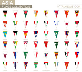 Flags of Asia, all Asian flags. Triangle icon.