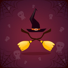 Silhouette Witch Broomstirck And Hat Happy Halloween Banner Holiday Decoration Horror Party Greeting Card Flat Vector Illustration