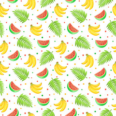 Tropical  fruits isolated on white background. Tiled summer pattern from watermelon, bananas and palm leaves. Fresh tropical fruits seamless background.
