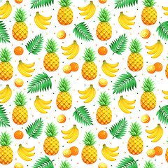Tropical  fruits isolated on white background. Tiled summer pattern from pineapples and palm leaves, bananas and oranges. Fresh tropical fruits seamless background.